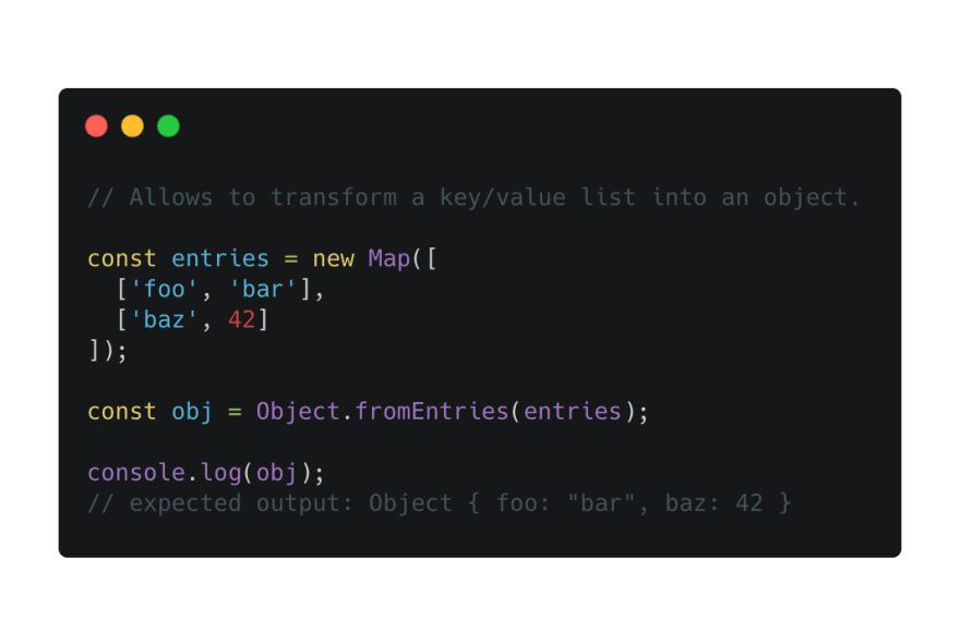 Code Snippet Object.fromEntries