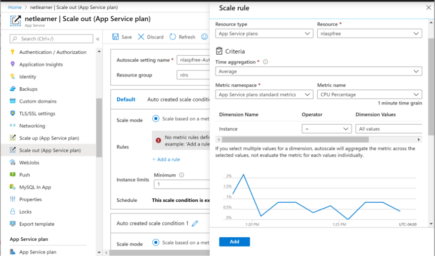 Adding a Scale Rule to Scale Out in Azure App Service
