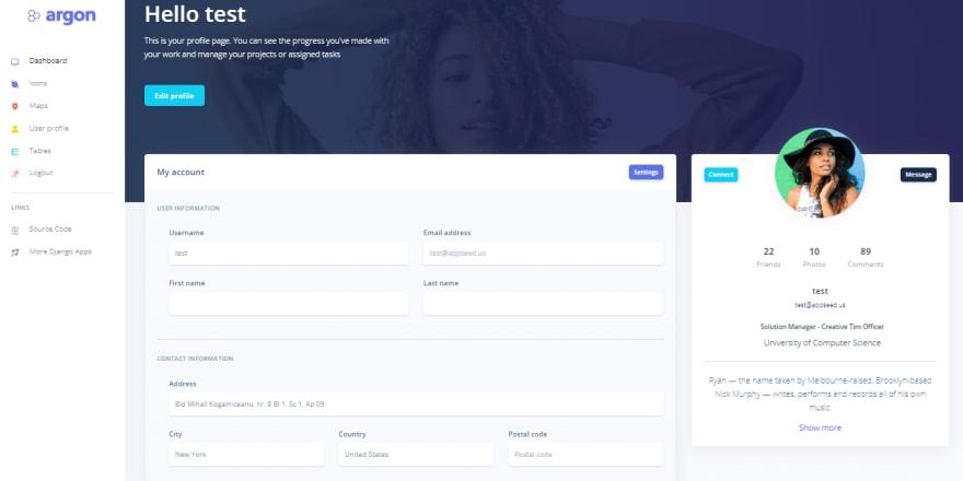 Argon Design - Django version, the user profile page.