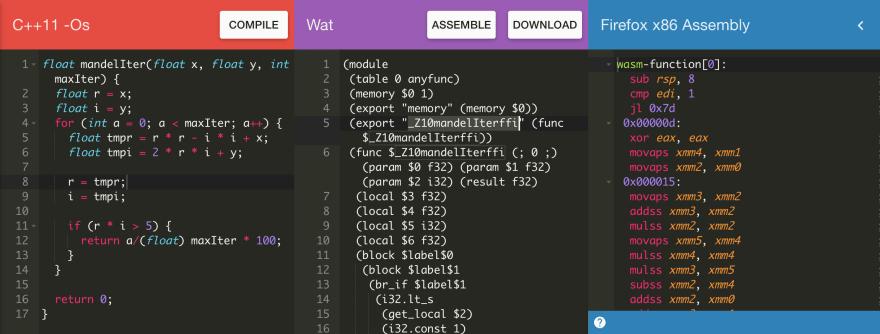 WebAssembly Explorer in browser