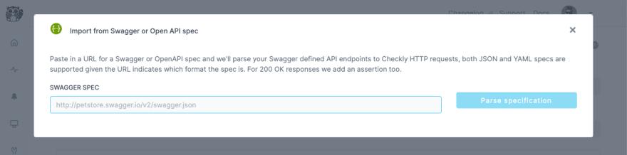 screenshot of checkly check api creation openapi import dialog
