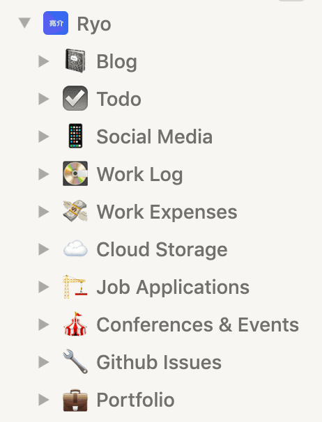 Screenshot of Notion sidebar with Ryo page and nested pages