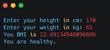 Output for BMI Calculator using Python
