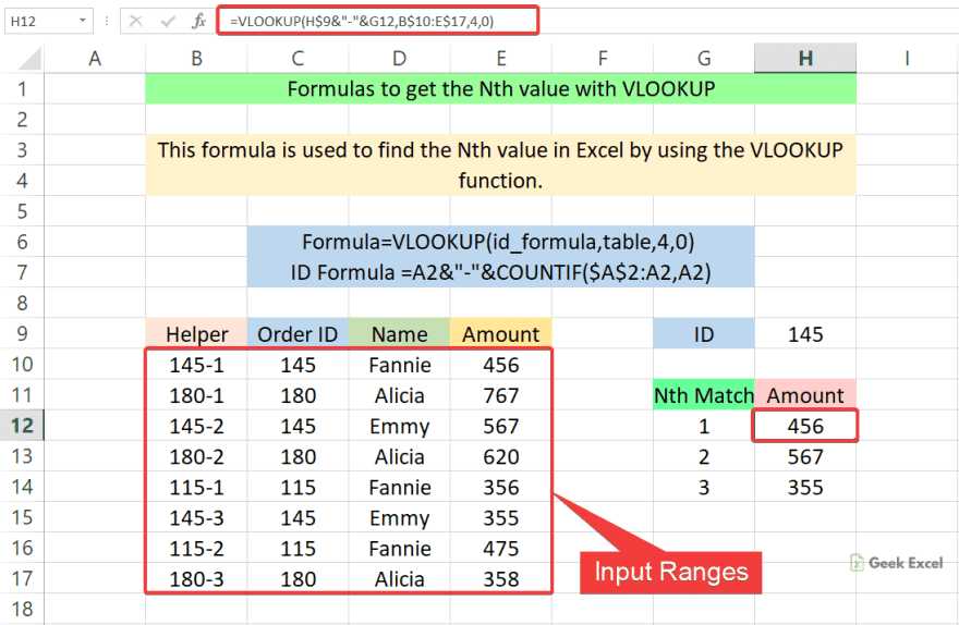 Formulas to get the Nth value with VLOOKUP