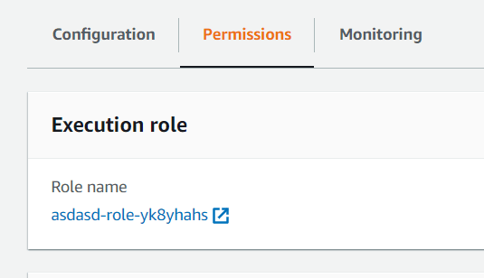 Click Lambda permissions tab