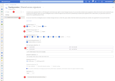 Screen capture showing the steps to create a SAS token