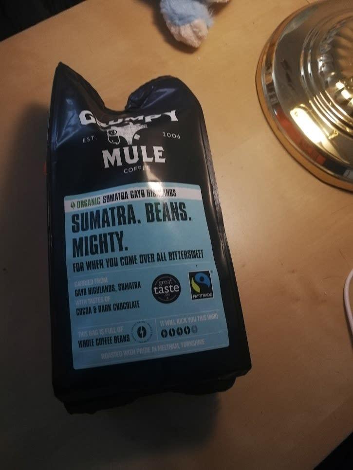 "A pack of Grumpy Mule ""Sumatra"" coffee beans"