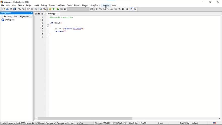 opened my initial C program in CodeBlocks