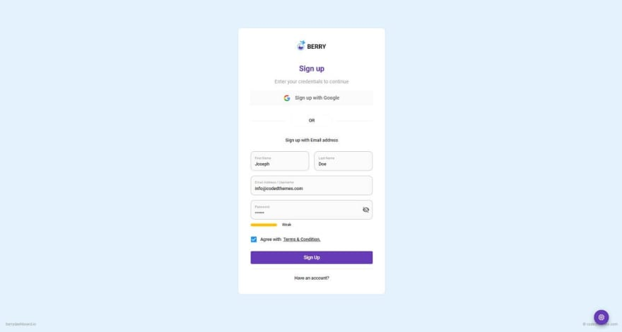 Berry React - Login Page