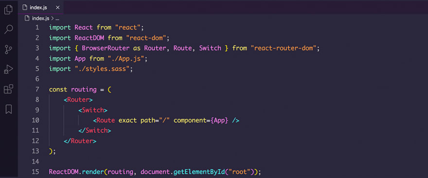 React code snippet with the SynthWave '84 theme