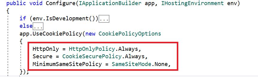 Configuring UseCookiePolicy.