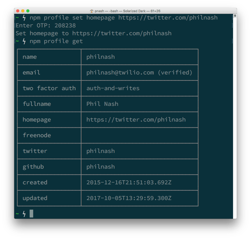 Another command line view, this time of my setting something in my profile and entering the one time password to do so successfully. Then showing the profile view again, this time with two factor authentication turned on.