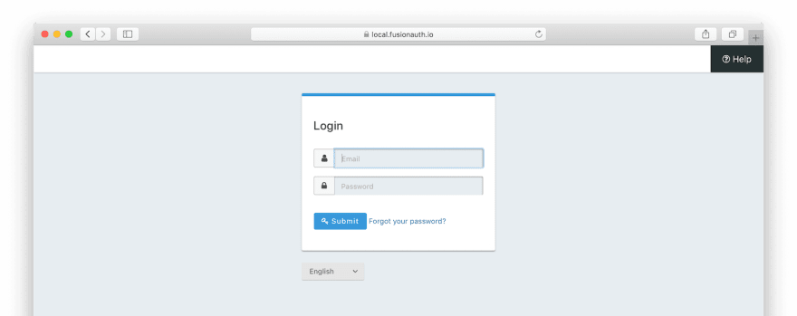 The default login screen.