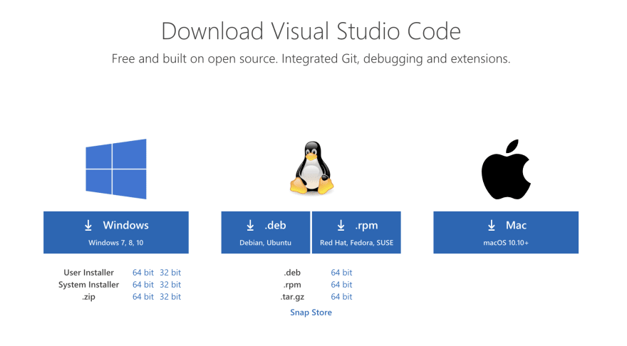 Picture of VS Code Download Option