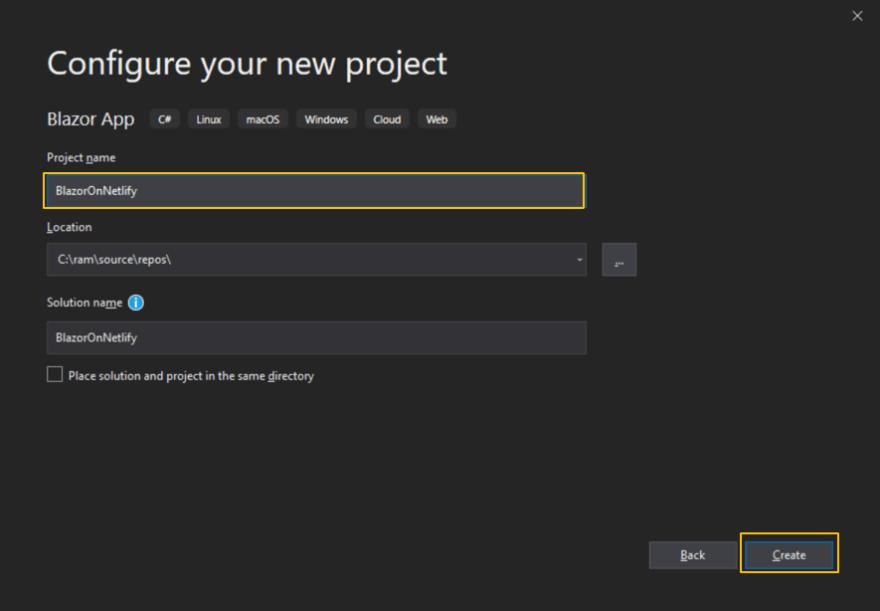 Set Blazor Project name