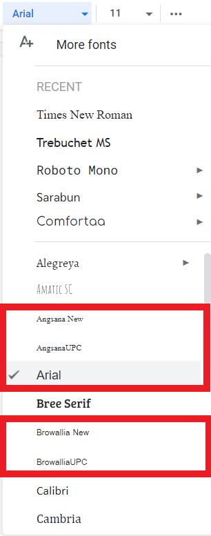 font ในเครื่องในเมนูเลือก font