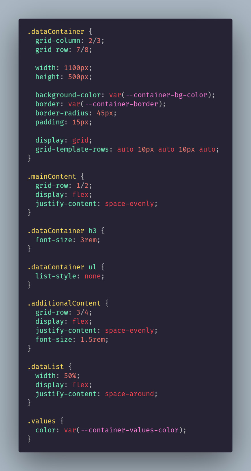 The stylesheet for the CurrentData.js file