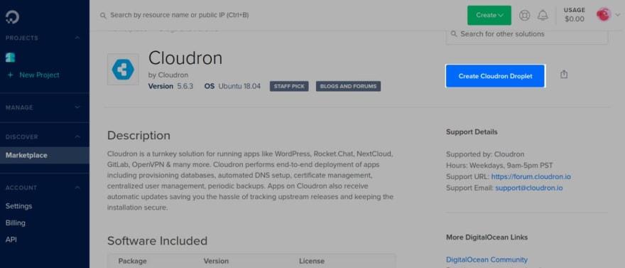 Create Cloudron Droplet
