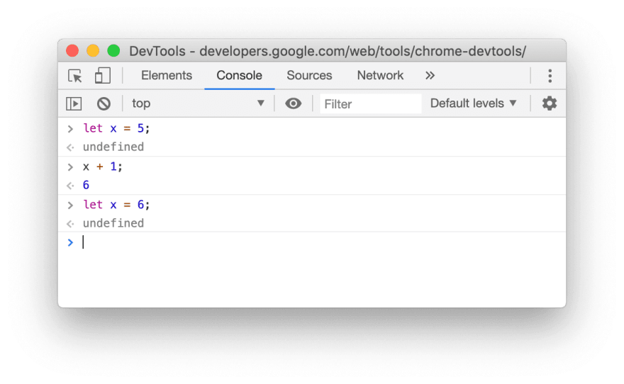 Screenshot for an example of allowing the let redeclaration in the Console of Chrome 80
