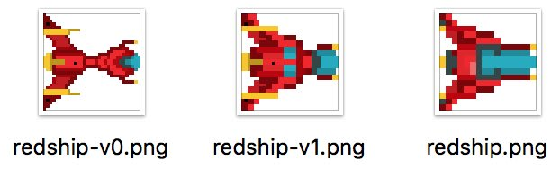 Different versions of pixel art for the red ship