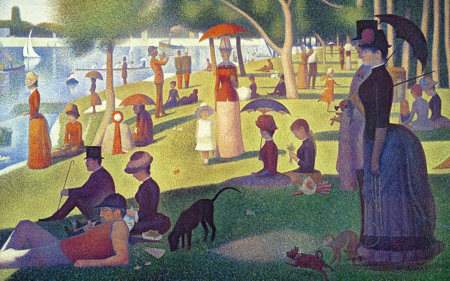 A Sunday Afternoon on the Island of La Grande Jatte, painted by Georges Seurat