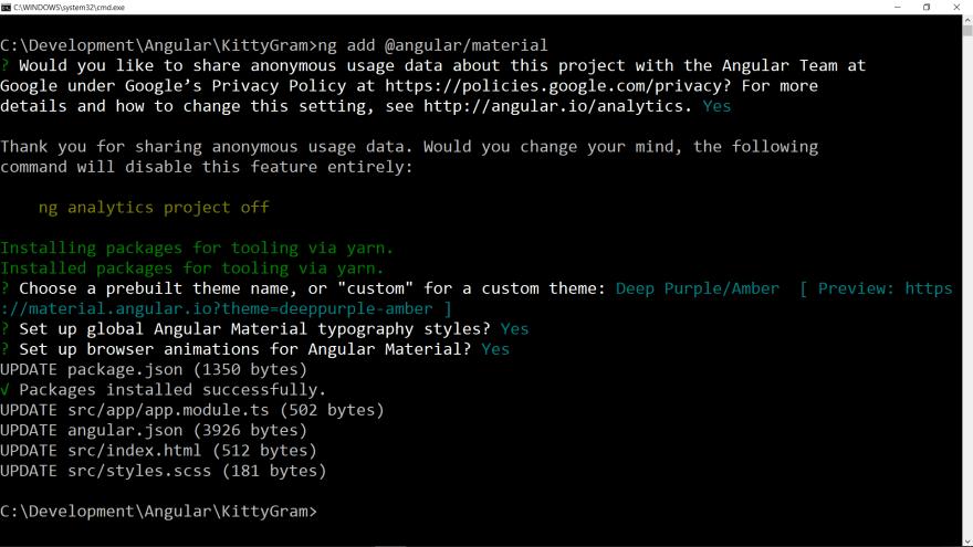 Setting up Angular Material