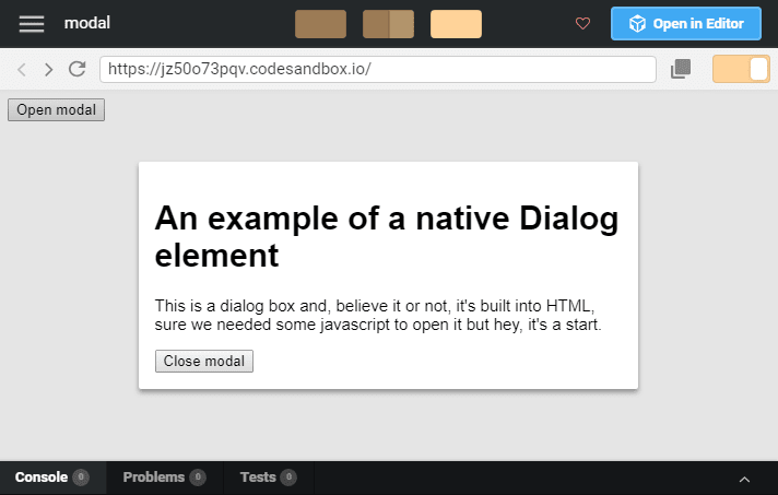 Native HTML: Dialog boxes - DEV Community 👩 💻👨 💻
