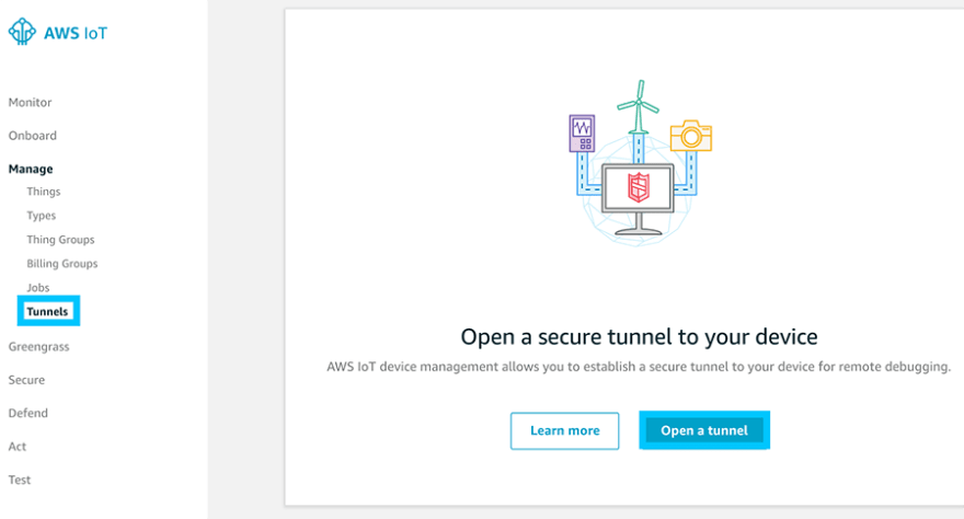 AWS IoT Secure Tunnel Create