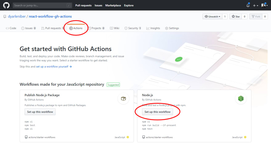 Actions on GitHub page