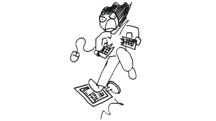 cartoon self smashing computer in anger