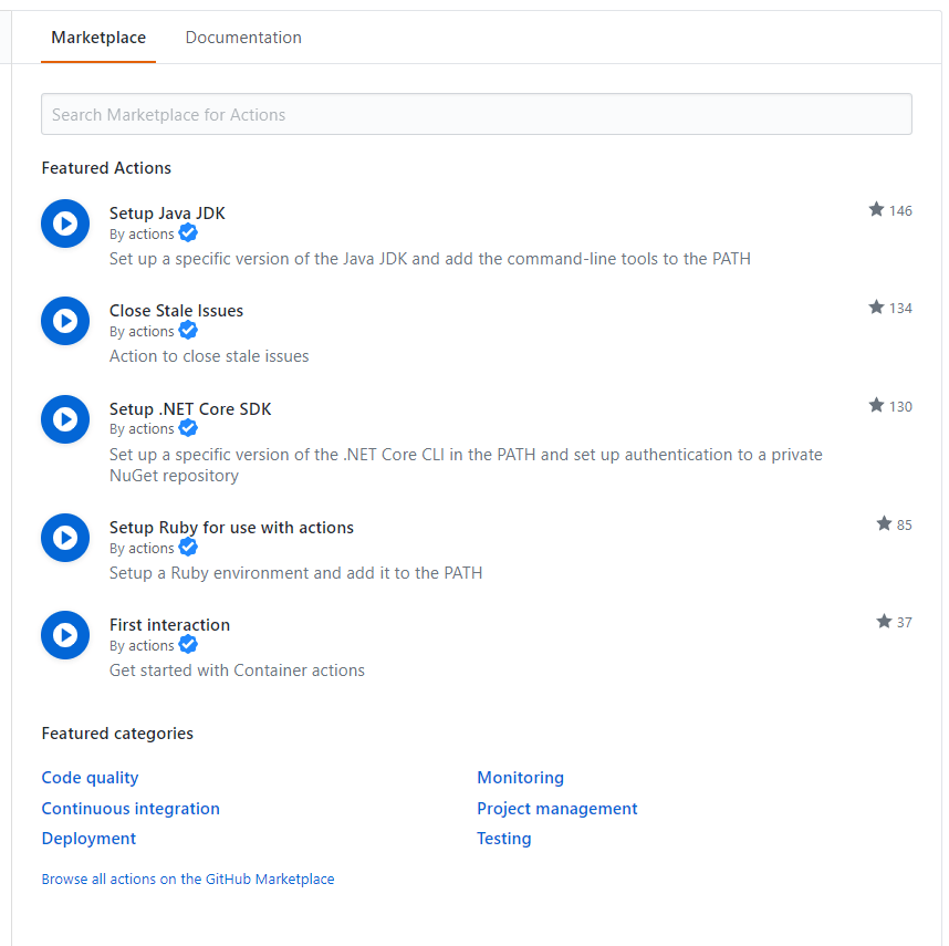 github actions marketplace