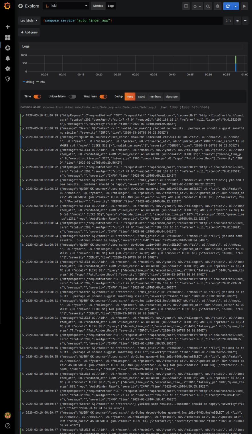 Image of Grafana's log explore tool