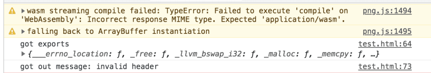 Error message with invalid header