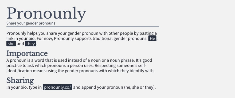 Cover image for New App: Share Your Gender Pronoun in Your Bio