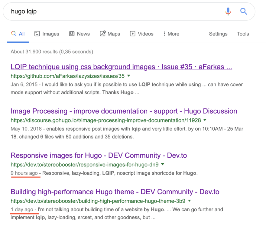"screenshot of google results, which shows links to this and previous article for query ""hugo lqip"" 1 day after posting"