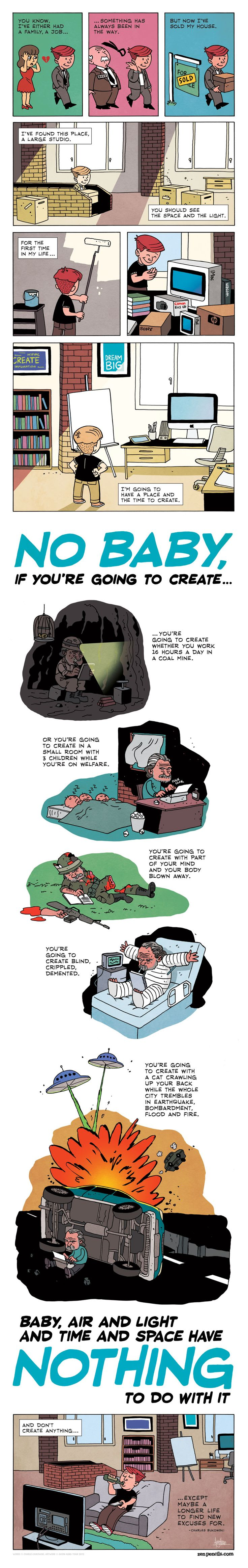 Charles Bukowski's quote on air and light and time and space as presented by Zen Pencils before the artist was asked to take it down