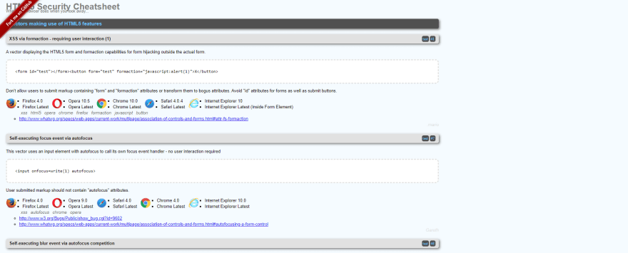 HTML5 Security Cheatsheet