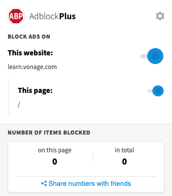 Screenshot of AdBlock Plus ignoring the tracker on Vonage Learn