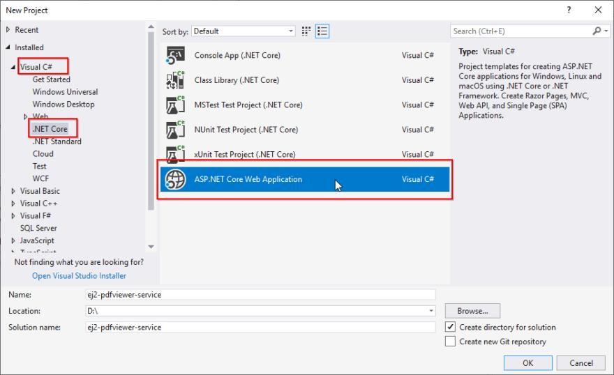 Choose ASP.NET Core Web Application