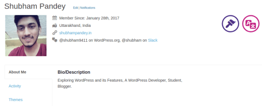 Profile Shubham Pandey WordPress