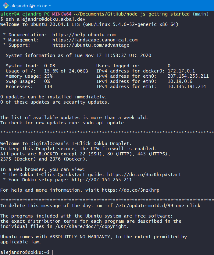 New user SSH connection