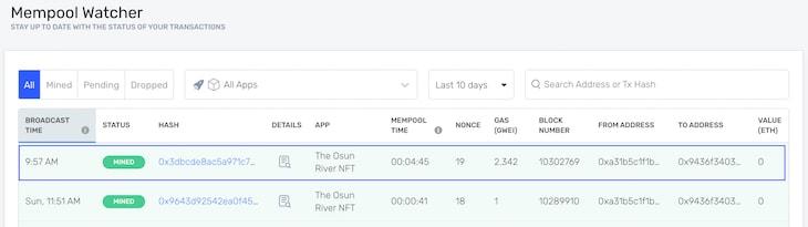 Alchemy Mempool NFT Data Dashboard