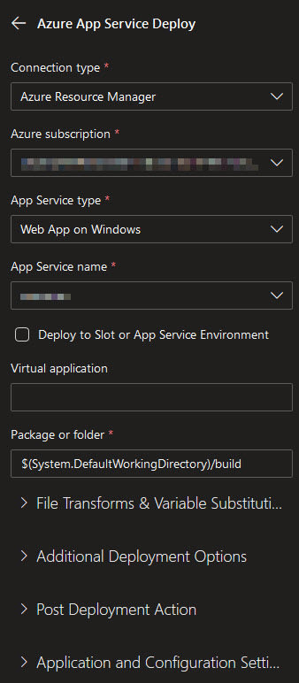 Screenshot of deploy to Azure task configuration using a GUI