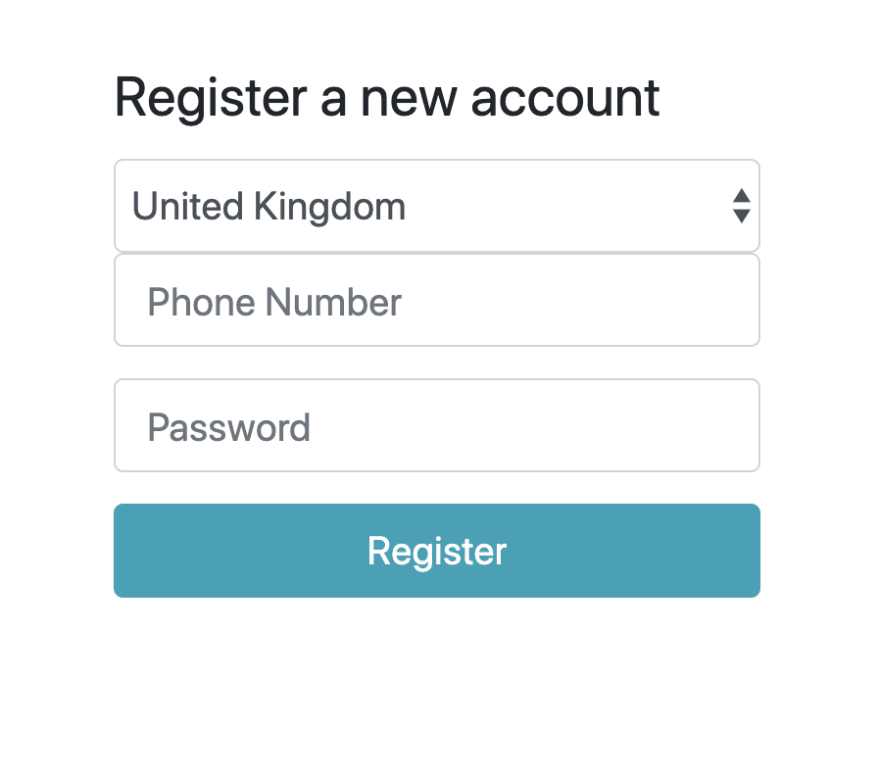 Registration page with country code