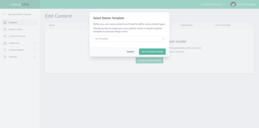 Select starter template screenshot