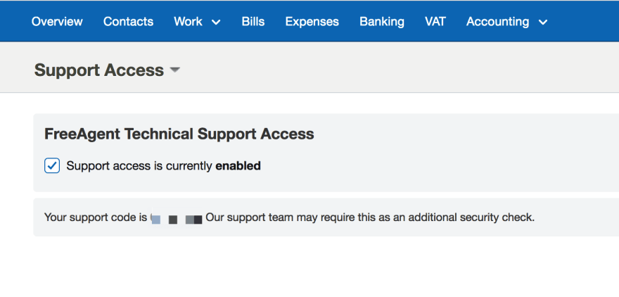 FreeAgent support access code
