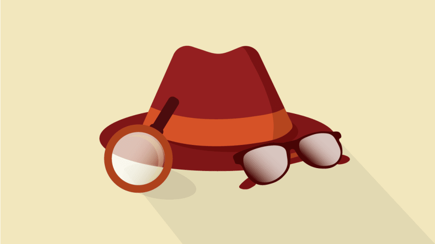Illustrated detective hat, glasses and magnifying glass