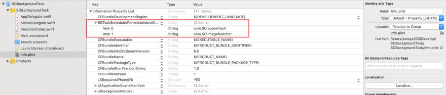Add BGTaskSchedulerPermittedIdentifiers Key