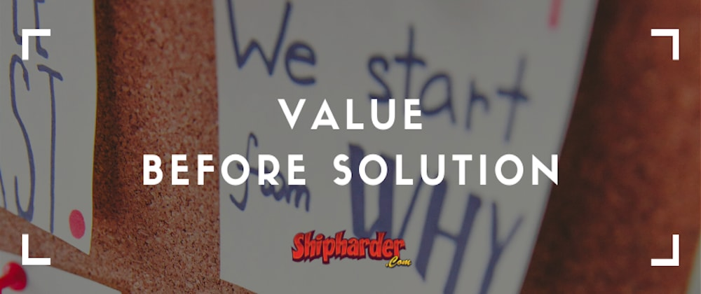 Cover image for Value Before Solution