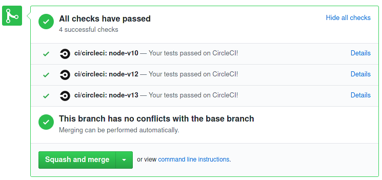example of circleCI UI integration with github repository